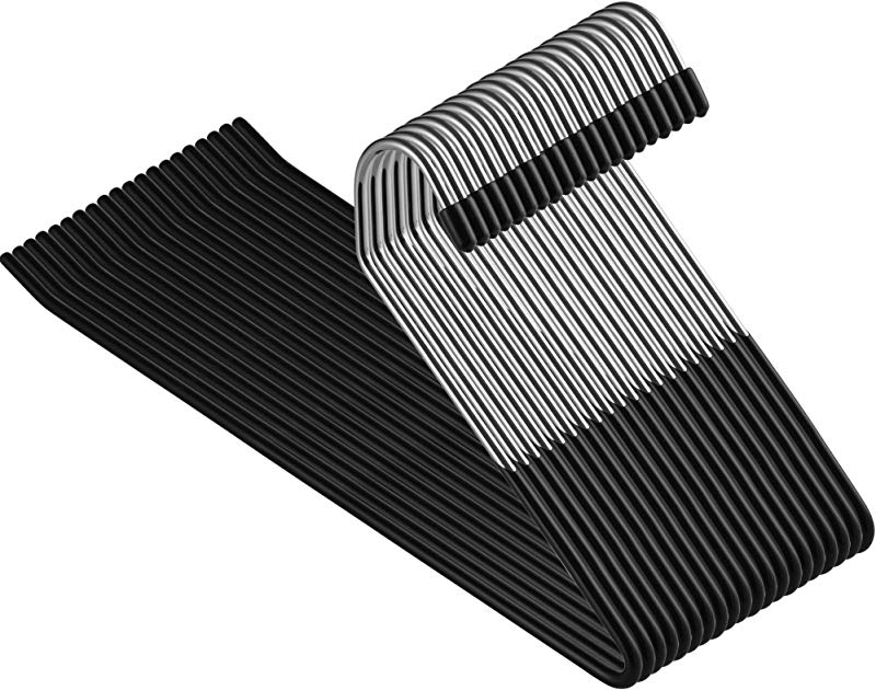 ZOBER Slack Trousers Pants Hangers 20 Pack Strong And Durable Anti Rust Chrome Metal Hangers Non Slip Rubber Coating Slim Space Saving Open Ended Design For Easy Slide Pant Jeans Slacks Etc
