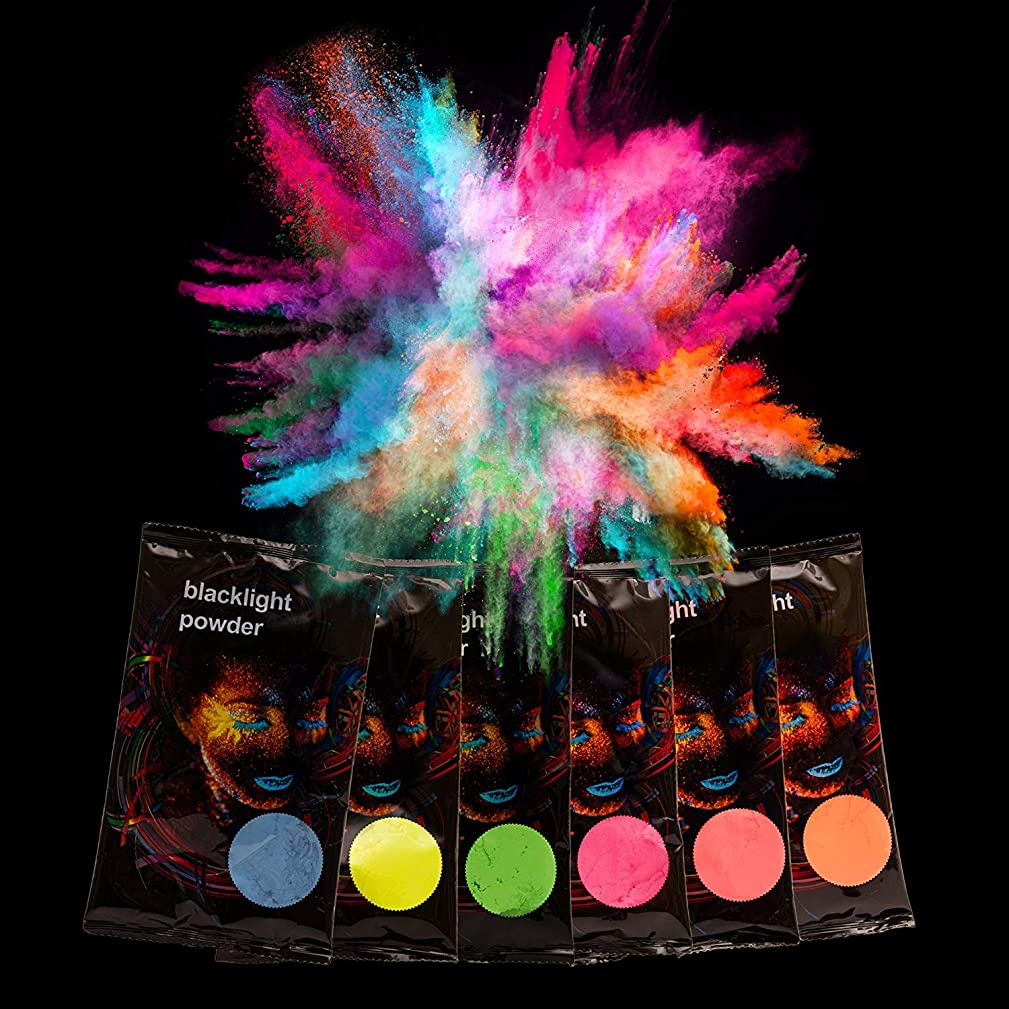 Glominex AT976, 12 Pcs 70gram Assorted Blacklight Color Powder, Pigment Party, Glow in The Dark Powder, Color Pigment Powder, Hippie Powder, Blacklight Party Supplies, Throw Color Powder, Color Run