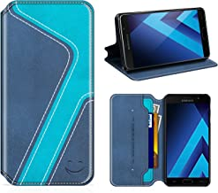 Smiley Samsung Galaxy A3 2017 Wallet Case, Mobesv Samsung A3 2017 Leather Case/Phone Flip Book Cover/Viewing Stand/Card Holder for Samsung Galaxy A3 (2017), Stylish Dark Blue/Aqua