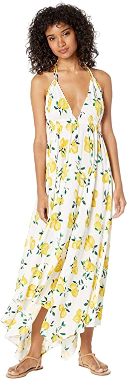 Lemon Beach Halter Maxi Dress Cover-Up