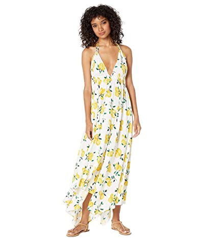 Kate Spade New York Lemon Beach Halter Maxi Dress Cover-Up (Fresh White) Women
