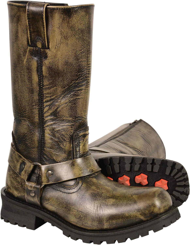 Milwaukee Leather Men's Harness Square Toe Boot Black Beige 13W