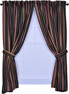 Ellis Curtain Montego Stripe 82-Inch by 84-Inch Tailored Panel Pair Curtains with Tiebacks, Black