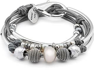 Lizzy James Maribel 2 Strand Silver Plate Wrap Bracelet Necklace in Metallic Silver Leather w Pearl