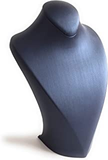 eSILVER Necklace Display Stand Bust Holder Showcase (Navy Blue)