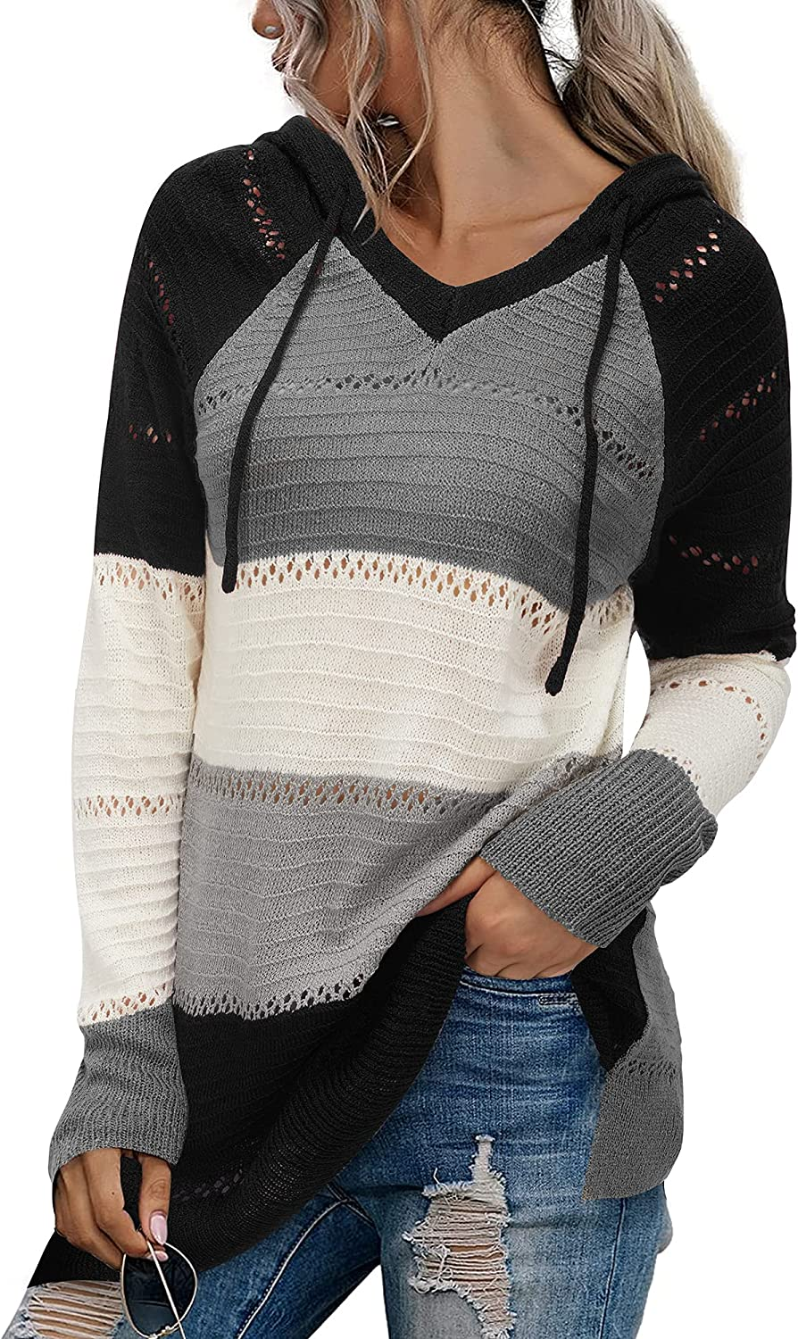 LAISHEN Womens Striped Color Block Hoodies Sweater Casual Long Sleeve V Neck Drawstring Pullover Sweatshirts