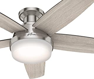Hunter Fan 48 inch Low Profile Brushed Nickel Ceiling Fan with LED Light Kit and Remote Control (Renewed)