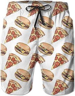 Lixinli Men's Boardshorts Piza Hamburger Quick Dry Board Shorts Beach Shorts Swimwear Swim Trunks Surfing Suit