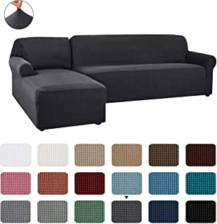 CHUN YI 2 Pieces L-Shaped Left Chaise Jacquard Polyester Stretch Fabric Sectional Sofa Slipcovers Dust-Proof L Shape Corner 2 Seats Sofa Cover Set for Living Room(Gray)