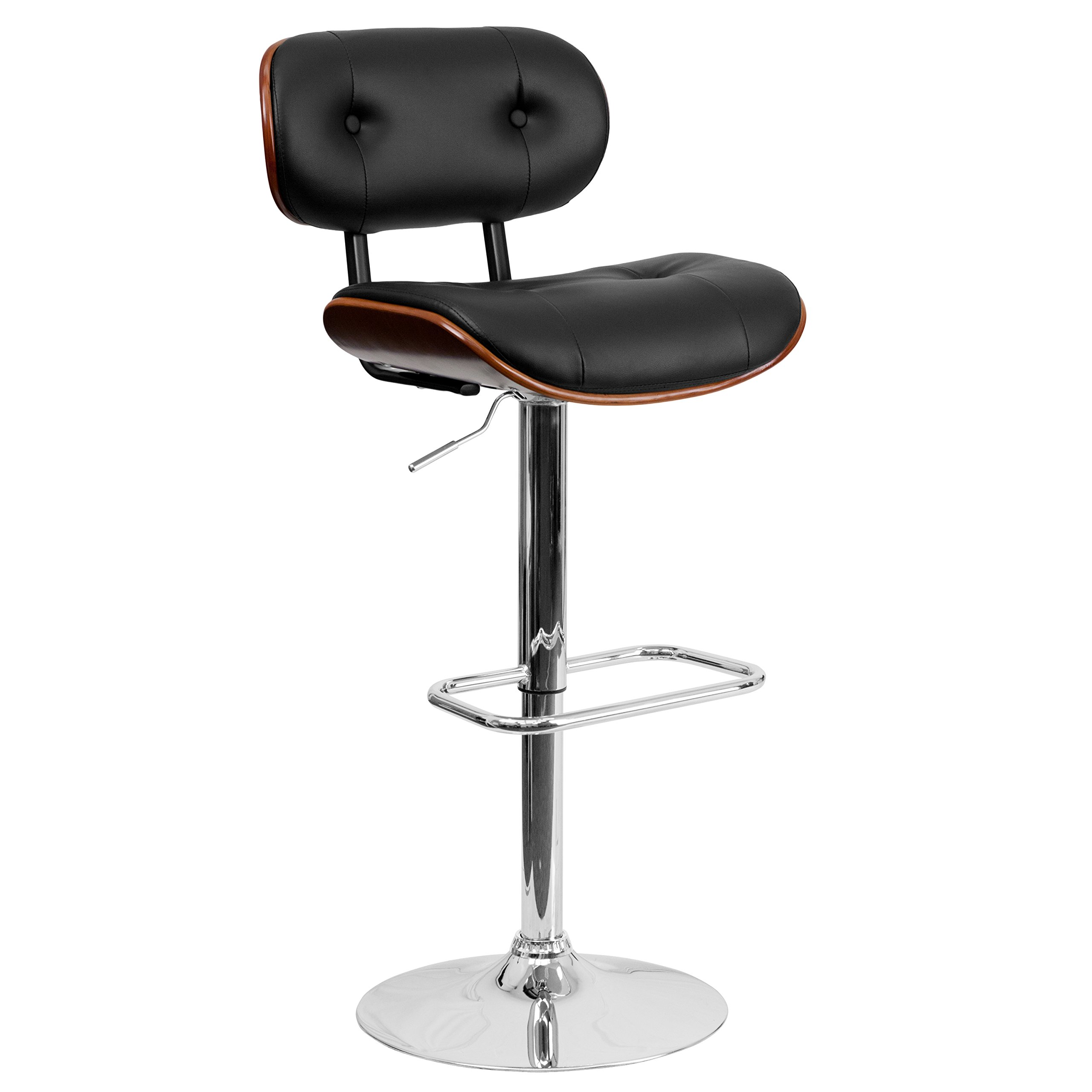 Flash Furniture Walnut Bentwood Adjustable Height Barstool With Button Tufted Black Vinyl Seat Furniture Decor