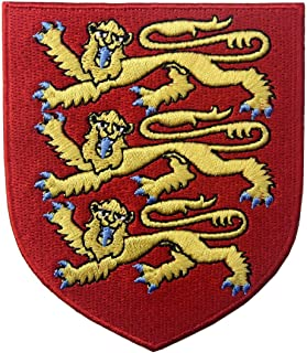 England Royal Coat of Arms Embroidered Emblem British Lion Shield Iron On Sew On Patch