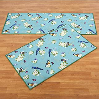 Collections Songbird Floral Decorative Springtime Blue Accent Rug, 22
