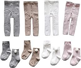 4 Pairs Baby Toddler Girls Footless Tights Knit Warm Cotton Leggings Stocking Pants with Anti Skid Socks