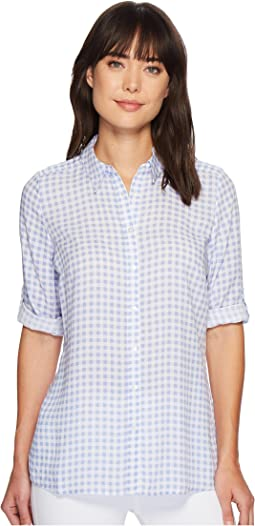 FDJ French Dressing Jeans - Gingham Print Tab Up Sleeve Tunic