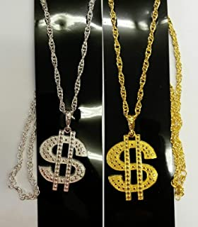 Dollar Sign Necklace Gangster Pimp Hip Hop Fashion Pendant Chain Gold Silver