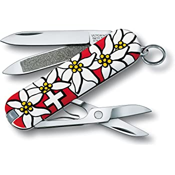 Victorinox Swiss Army Classic Pocket Knife, Red Edelweiss
