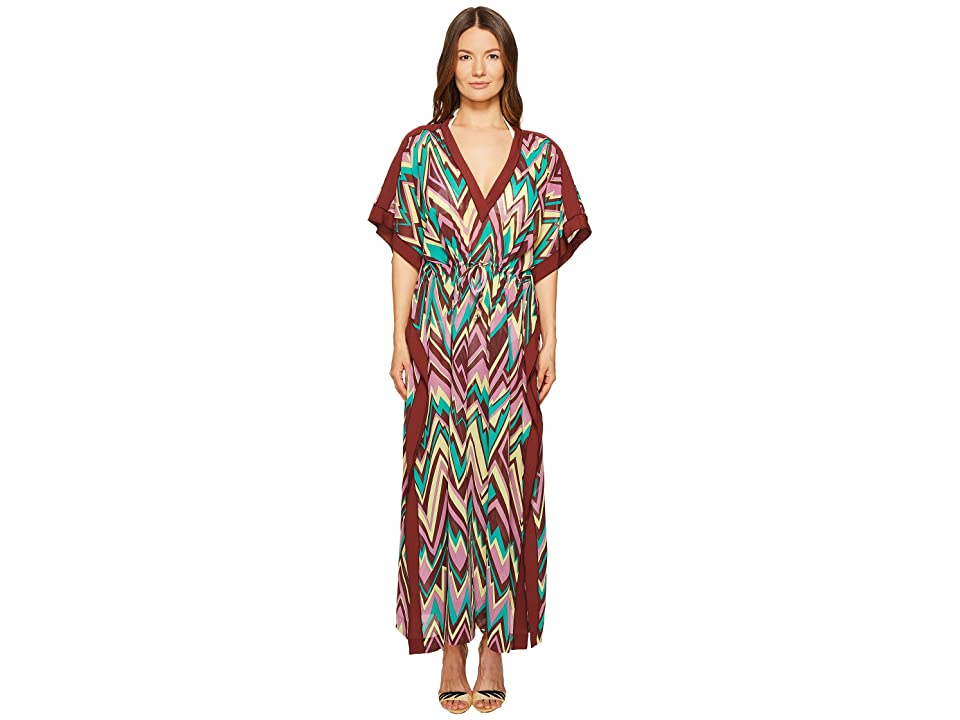 M Missoni Retro Zigzag Cotton Voile Long Cover-Up (Brown) Women