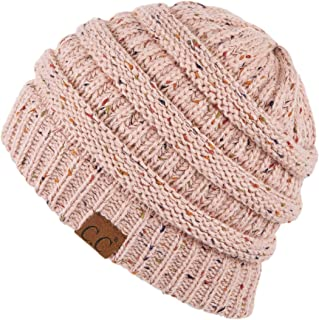 Hatsandscarf CC Exclusives Unisex Ribbed Confetti Knit Beanie (HAT-33) (Indi Pink)