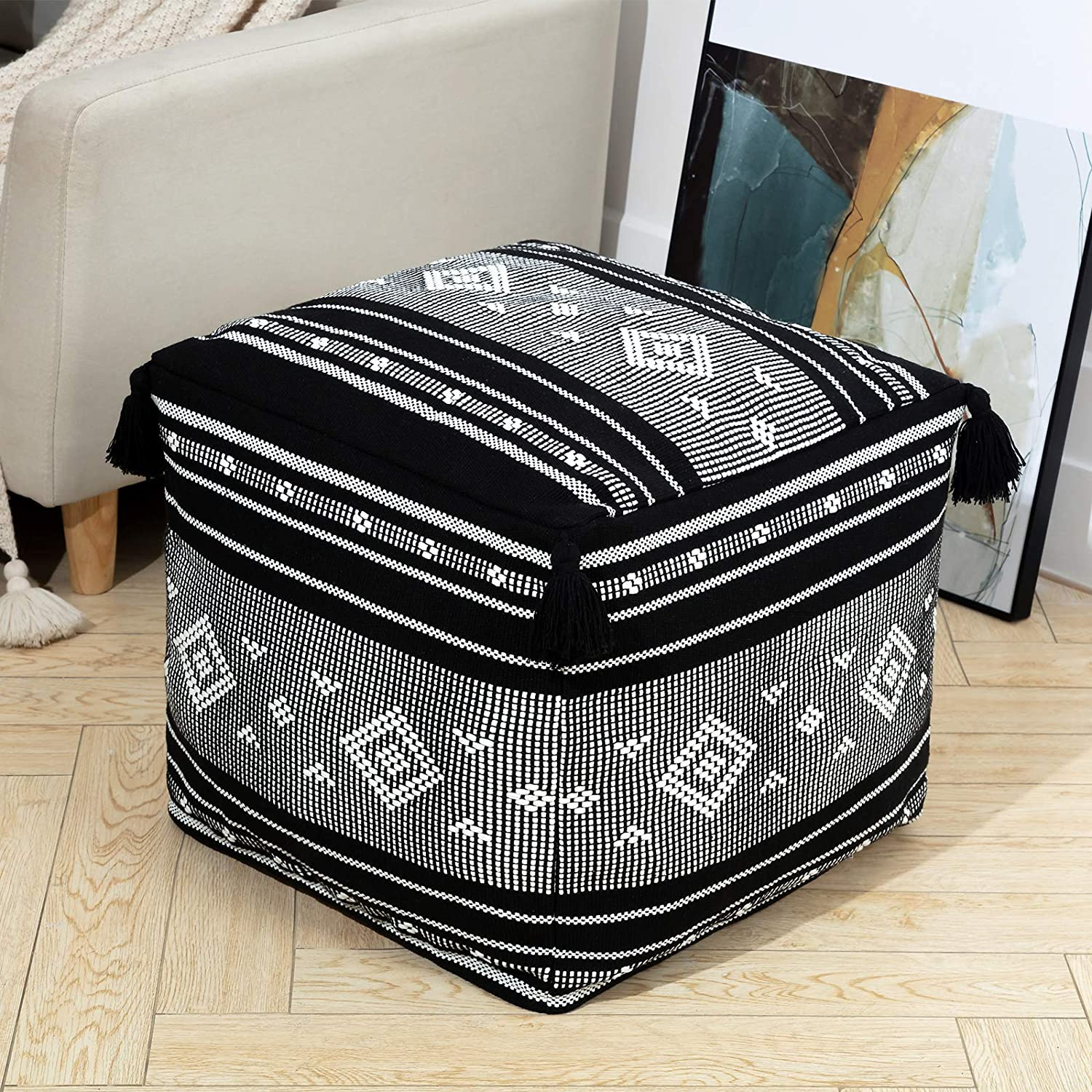 Woven Unstuffed Pouf Large discharge Phoenix Mall sale Cover Square for Ottoman Boho Cube Storage