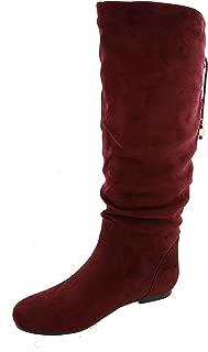 TOP Moda Women's Slouchy Knee High Flat Heel Boot (6 B(M) US, Light Wine)