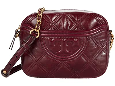 Tory Burch Fleming Soft Glazed Camera Bag (Royal Burgundy) Handbags