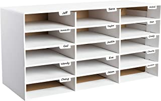 AdirOffice File Organizer Classroom - Office - Home - Corrugated Cardboard (15 Slots, White)