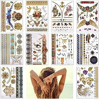 Lady Up 10 Large Sheet +75 Designs Metallic Flash Tattoos for women- Jewellery Temporary Tattoo & Indian Body Art Henna Go...