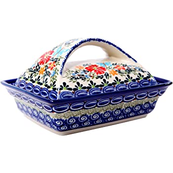 Dimensions 7.5 Inch X 4.4 Inch Polish Pottery Butter Dish 4 X 7 From Zaklady Ceramiczne Boleslawiec #1377-1115 Traditional Pattern