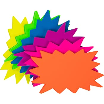 "100 3/""x 3/"" Square Fluorescent Solar Star Burst Neon Sale Sign  20 each color"
