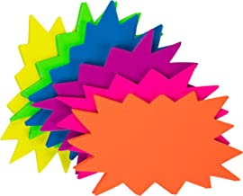 Starburst Signs - 60-Pack Star Burst Signs for Retail, Fluorescent Neon Paper, 6 Assorted Bright Color Display Tags to Boost Sales, 3 x 5 Inches