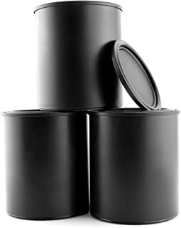 Black Plastic Paint Cans (3-Pack); Quart Size Cans for Paints & Varnishes or Crafts & Gifts
