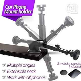 iAMAZING Car Holder Dashboard Cell Phone Mount for Cellphone Compatible to iPhone Xs X 8 8Plus 7 7s 6s Plus 6s 5s 5c Samsung Galaxy S10 S9 S8 Edge S7 S6 Note 9 Xiaomi and More (Black)