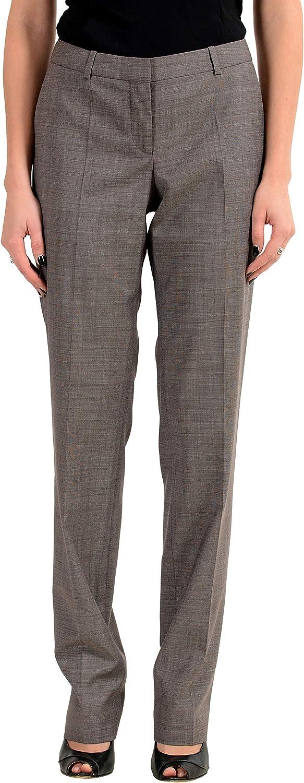 Hugo Boss Tamea8 Women's 100% Wool Gray Casual Pants US 4 IT 40