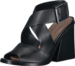 BCBGMAXAZRIA Women's Sara Chunky Heel Sandal Sandal, black leather, 7 M US