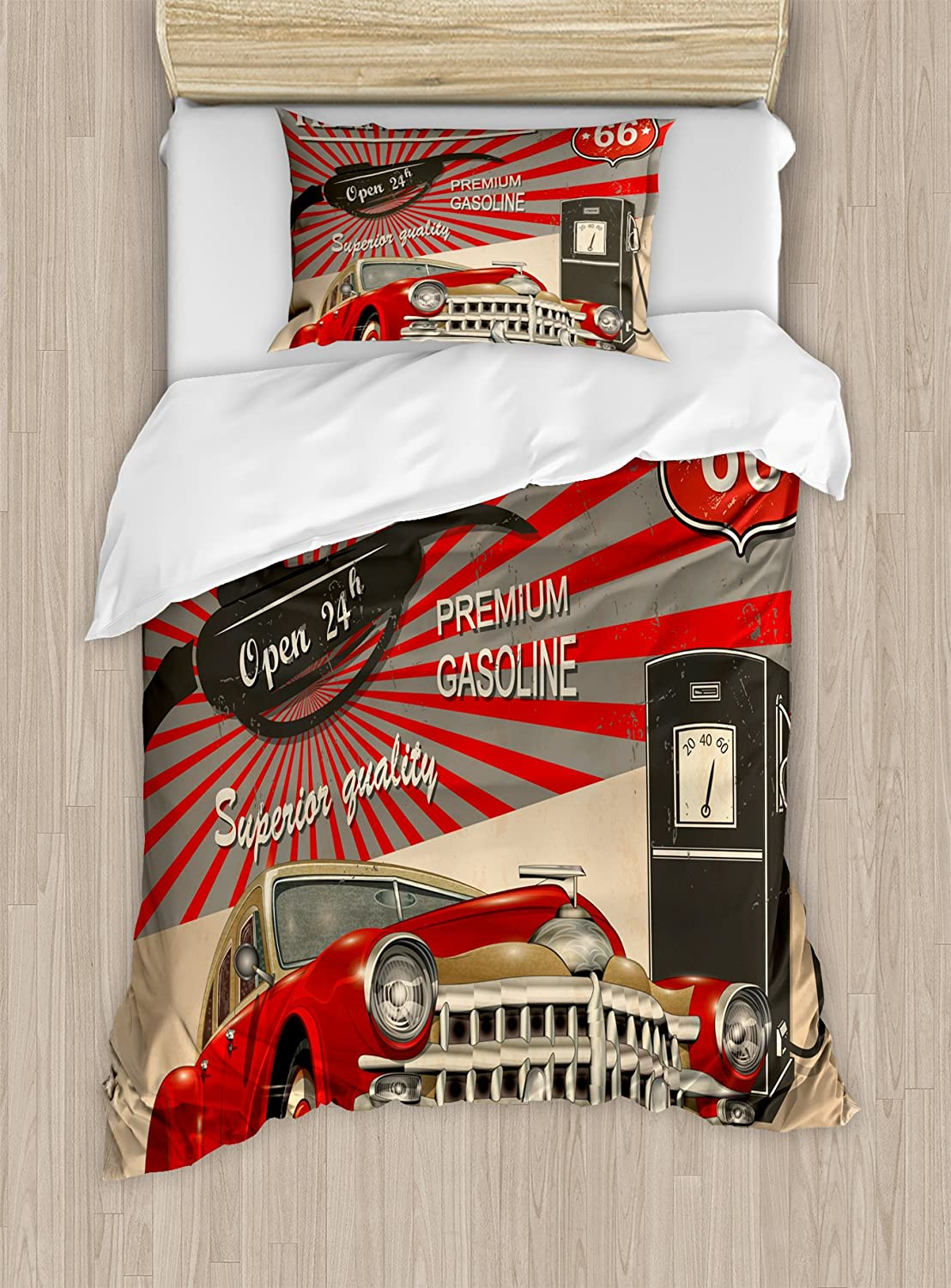 Ambesonne Cars Duvet Cover Set Twin Size, Poster Style Image of Gasoline Station Commercial Kitschy Element Route 66 Retro Print, A Decorative 2 Piece Bedding Set with 1 Pillow Sham, Vermilion Beige