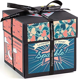 XOXO Explosion Box with Designer Illustrations - Pre-Assembled - 5 Inch Cube (Sparkles)