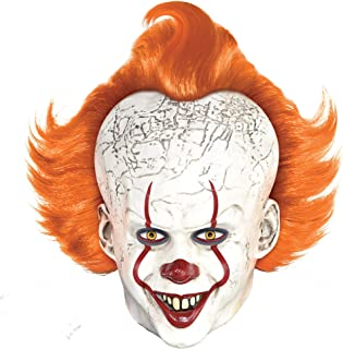 Pennywise Mask Halloween Costume Accessory for Adults, It Chapter Two, Standard Size