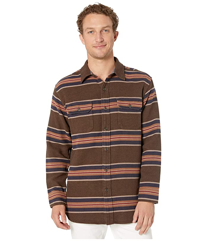 Blanket Stripe Overshirt (San Miguel Brown Stripe) Men's Clothing