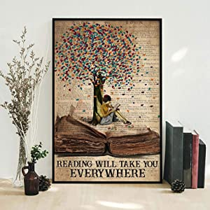 Metal Sign Reading Will TAKE You Everywhere Love Reading Sign, Book Lovers Sign, Reading Girl, Wall Art