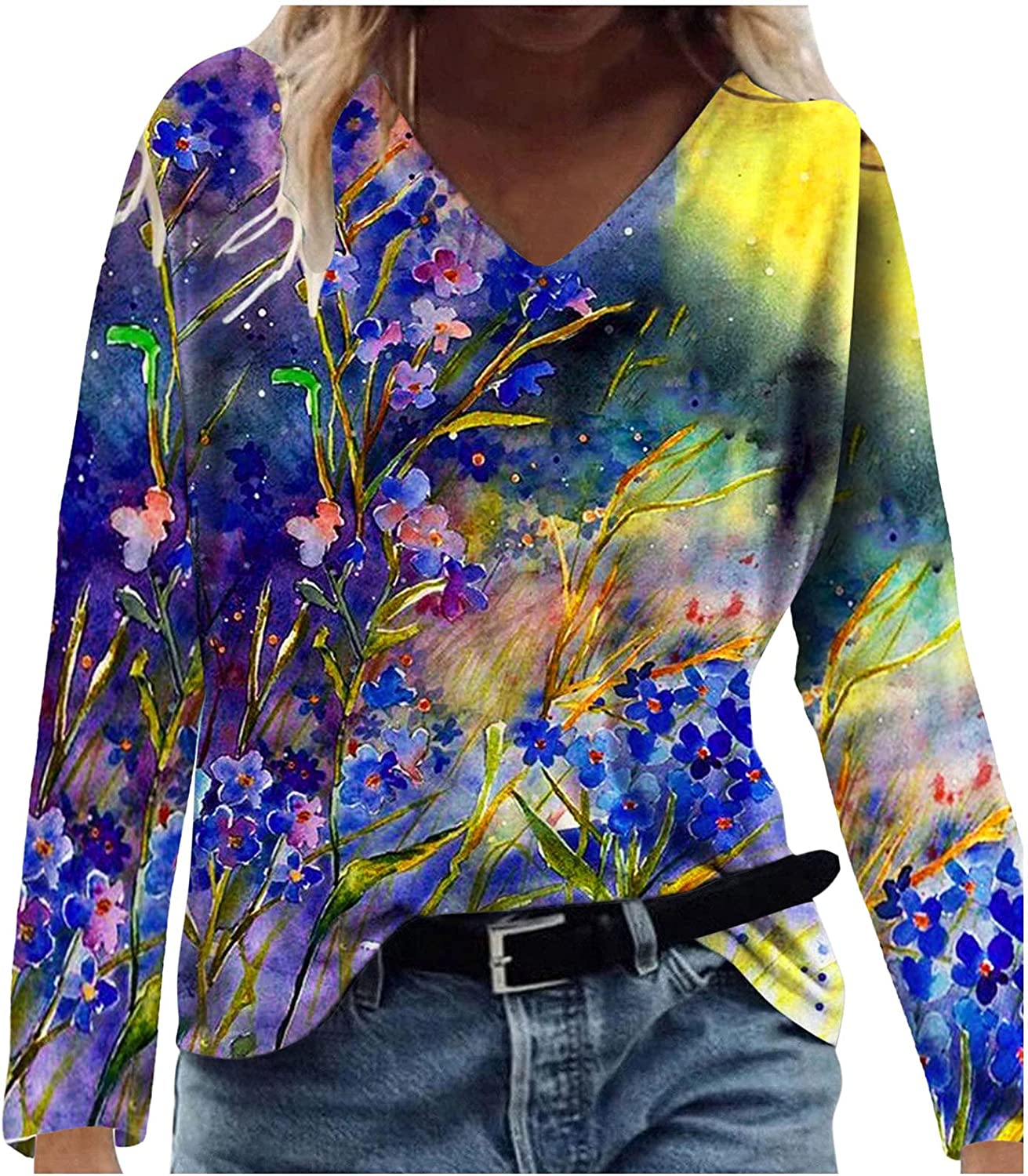 ONHUON Long Sleeve Blouse for Women Casual,Women Fashion V Neck Floral Sweatshirts Pullovers Tops Tunic Tees Shirts
