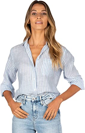 CAMIXA Camisa de Mujer Puro Lino Blusa Fluida Semi Slim Suave Top Fresco