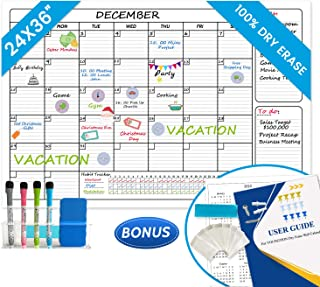 YOUNGTION Dry Erase Laminated Wall Calendar, Huge 24 x 36 Inches Erasable Undated Monthly Planner for Home Office School, Premium PET Film & Habit Tracking Grid, with Big Bonus Bundle