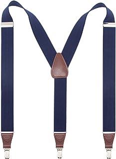 Bioterti Men's Y-shape 1.4 Inch Suspender -3 Metal Clips, Elastic Straps
