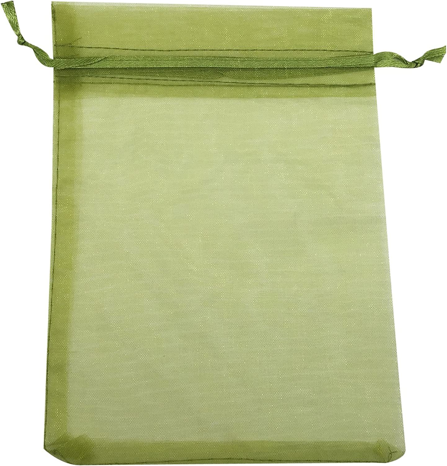 SUNGULF 50pcs Organza Pouch Bag Drawstring 5 x7  13x18cm Strong Gift Candy B6ag Jewelry Party Wedding Favor (Moss Green)