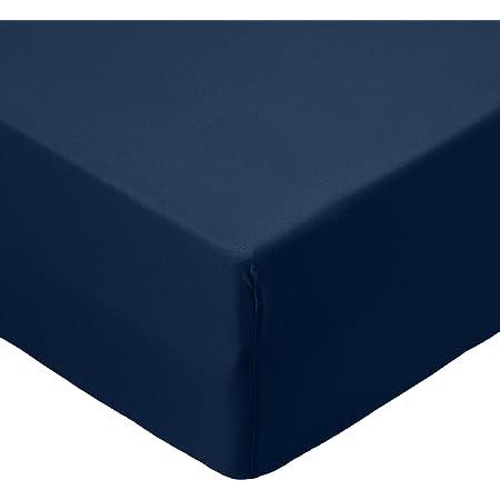 Amazon Basics Drap-housse en microfibre Bleu marine 135x190x30cm