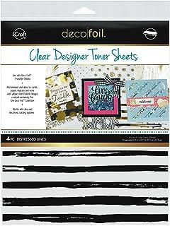 "iCraft Deco Foil Clear Designer Toner Sheets 8.5"" x 11"", 4 Sheets per Pack, Distressed Lines"