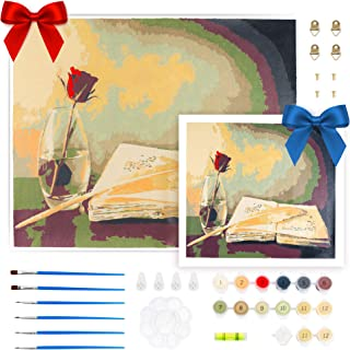 DIY Paint by Numbers for Adults and Kids Painting Number Kit on Canvas ''16 x 20'' Inch Bonus 1 Canvas Paint ''10 x 10'' I...
