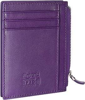 flintronic Porta Carte di Credito e Tasche Pelle, RFID/NFC Blocco Portafoglio (#5 Porpora Con Cerniera)