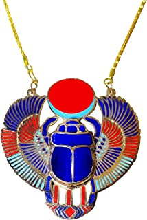 Scarab Beetle Necklace Pendant Jewelry XL Enameled Egyptian Collar Choker Ancient Egypt Pharaoh Pharaohs Costume Accessory Jewelry Belly Dance