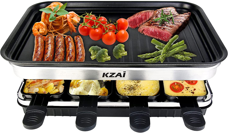 Raclette Grill con Antiadherente Plancha, Multifunción Raclette Parrilla para 8 Personas, Incl. 8 Mini-Sartenes, 1500W Negro